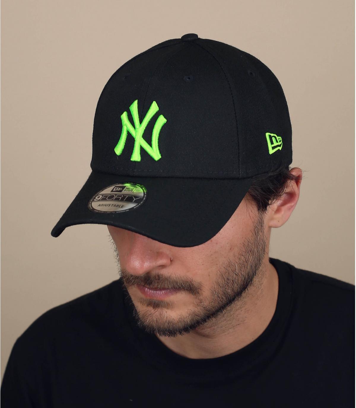 Cappellino NY nero e verde fluo