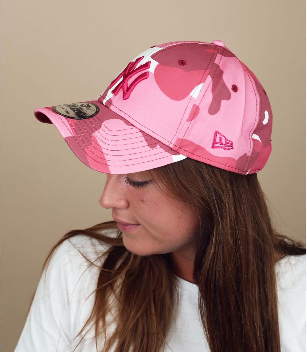 Cappellino NY mimetico rosa