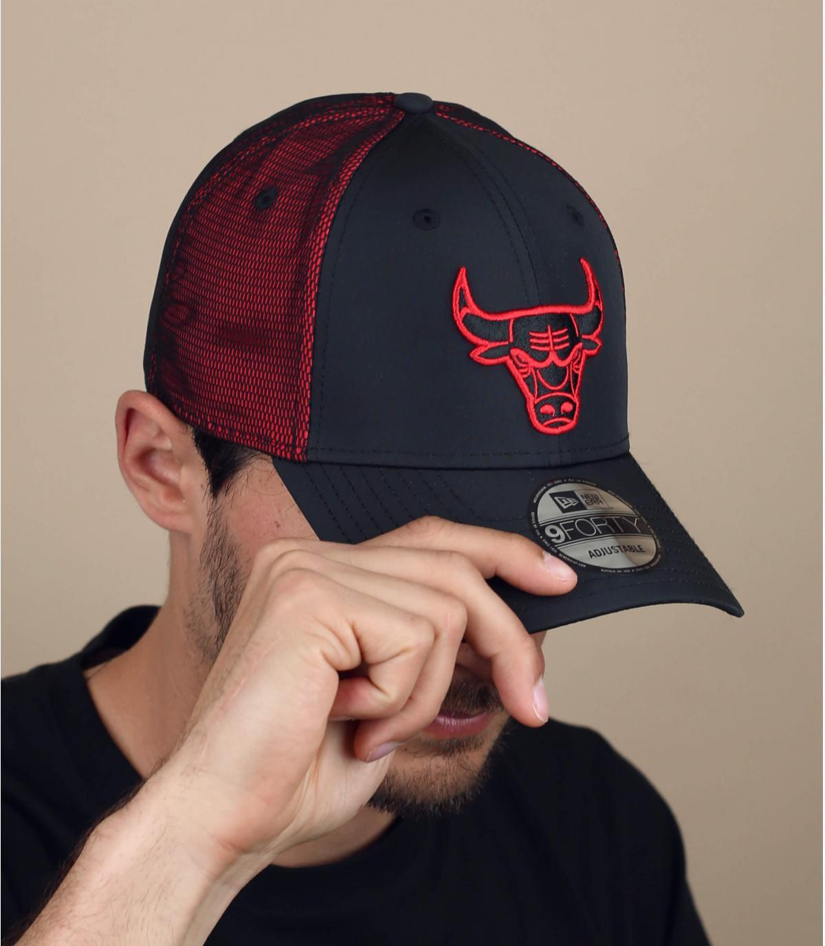 Cappellino Bulls nero e rosso