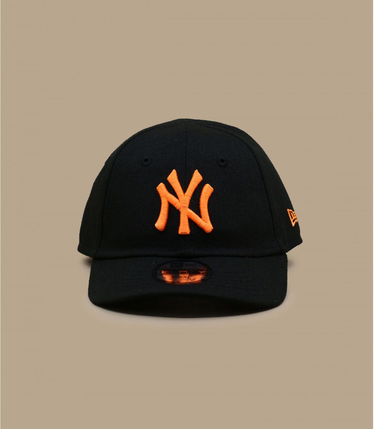 cappellino neonato NY nero arancio