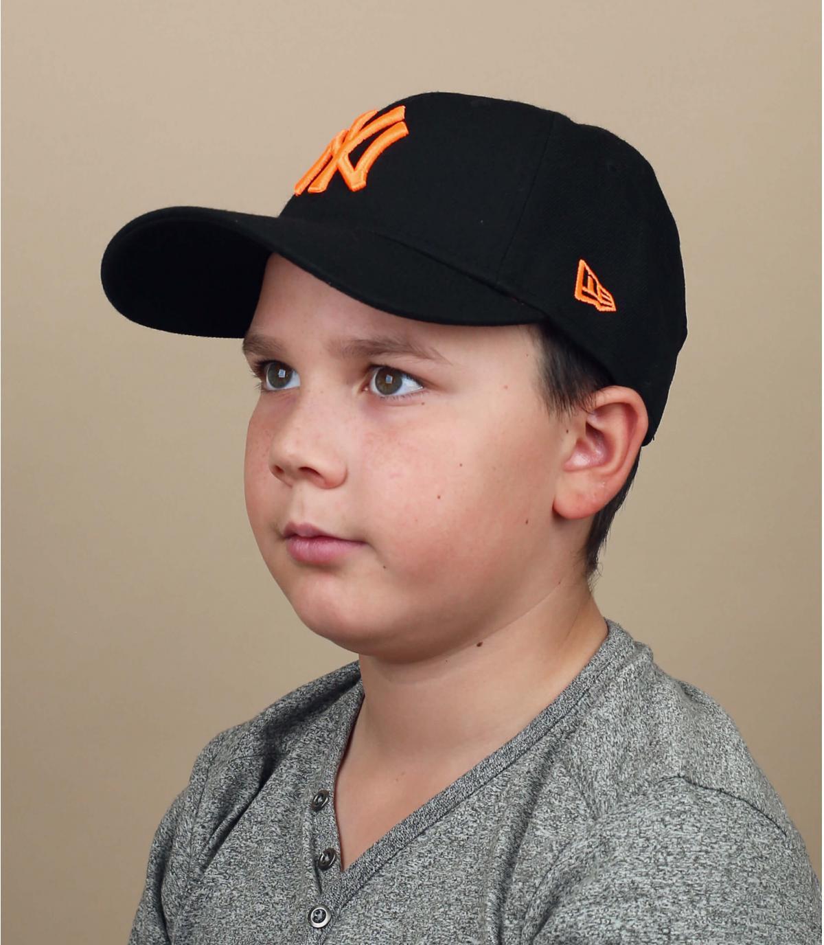 cappellino bambino NY nero arancio