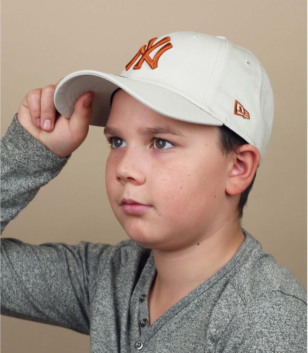 cappellino bambino NY beige