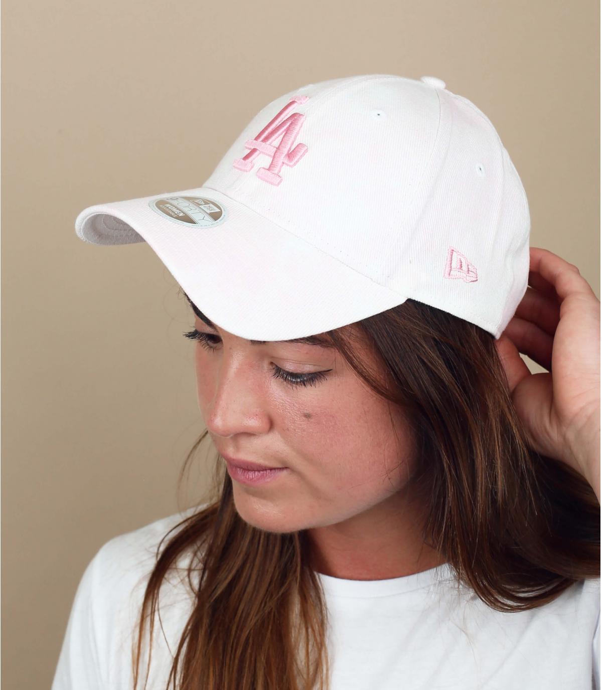 cappellino LA bianco rosa