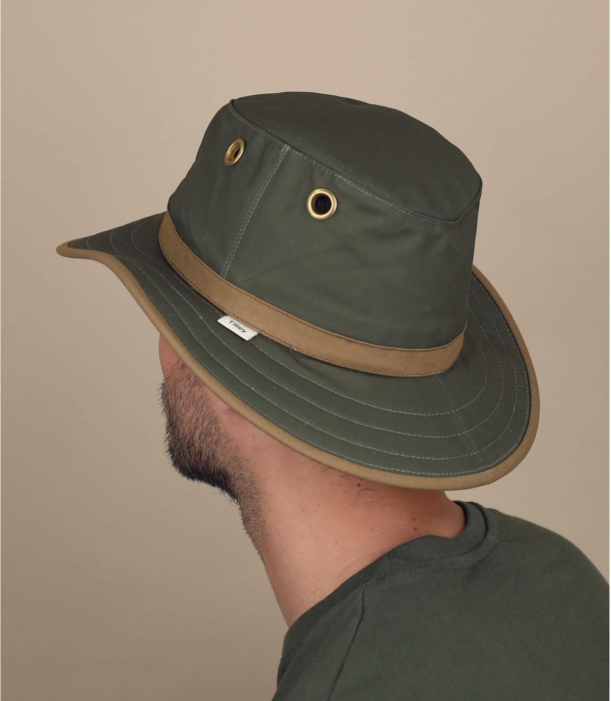 cappello cotone cerato verde
