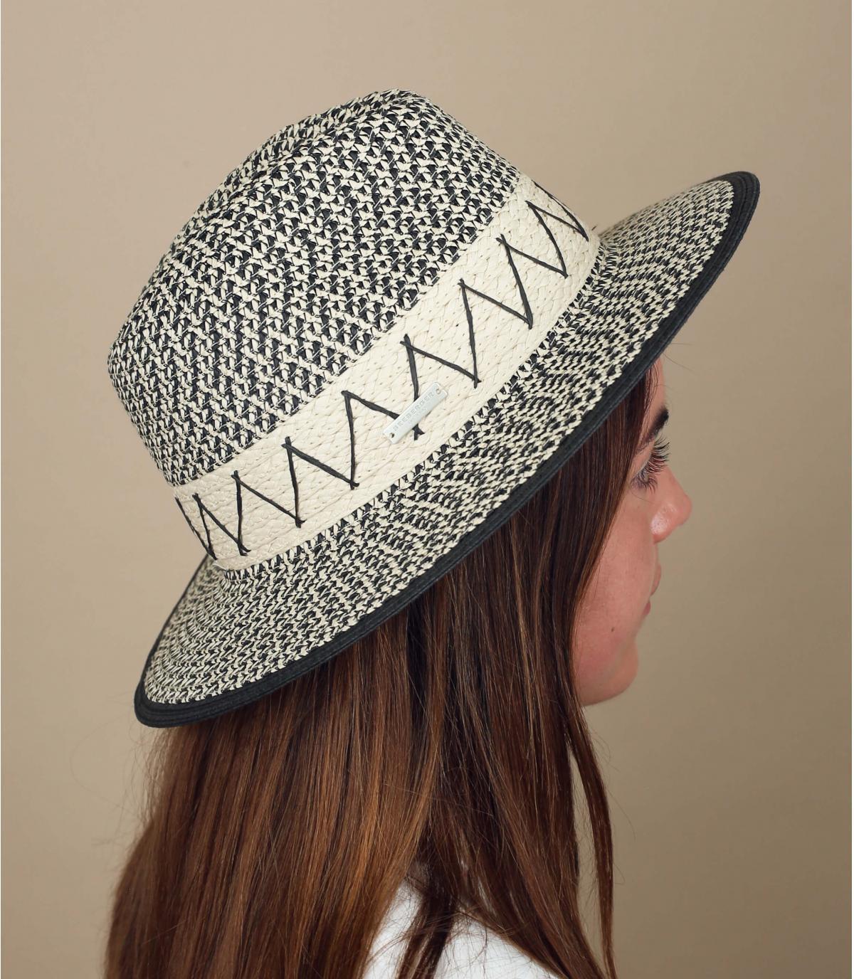 cappello paglia bianco e nero