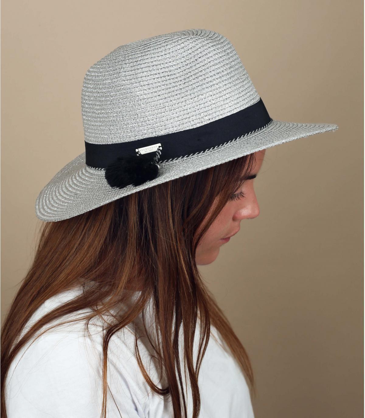 cappello paglia argentato