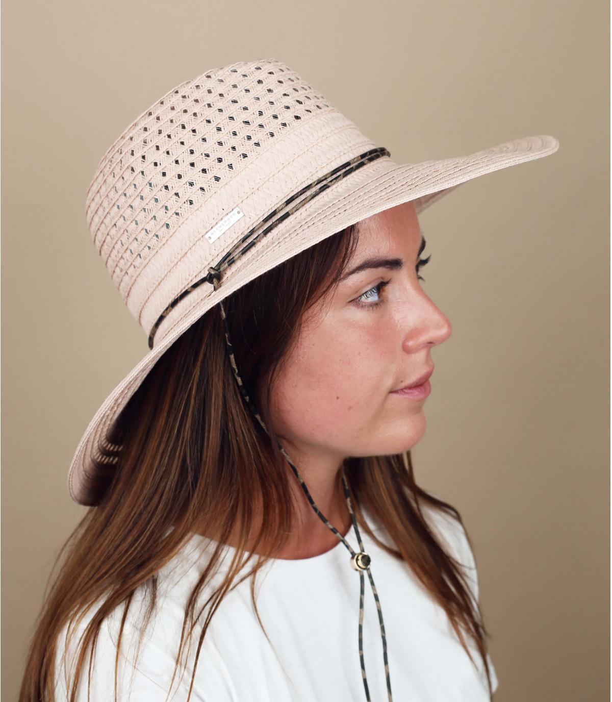 cappello paglia rosa