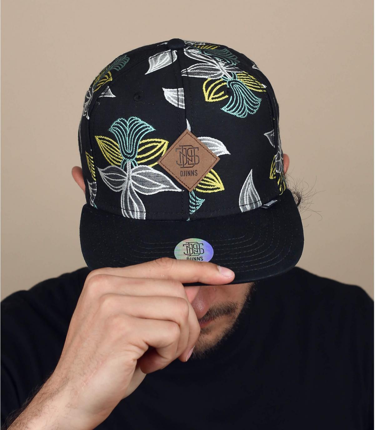 cappellino nero a fiori Djinns