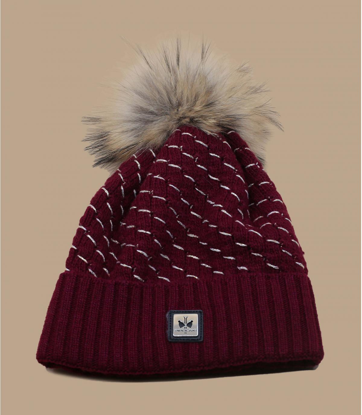 cappello in pelliccia di cashmere bordeaux