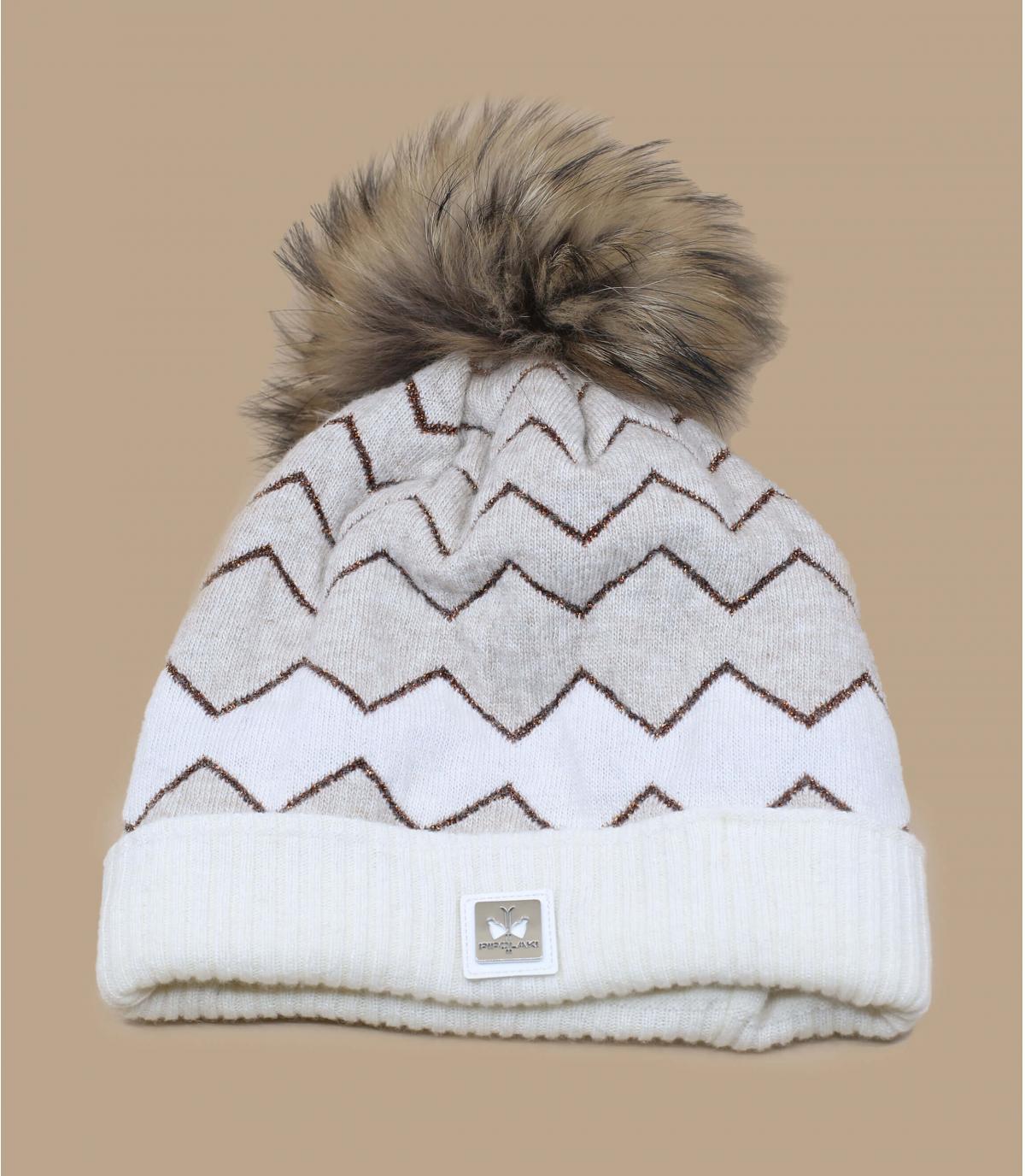 cappello beige con strisce di pompon