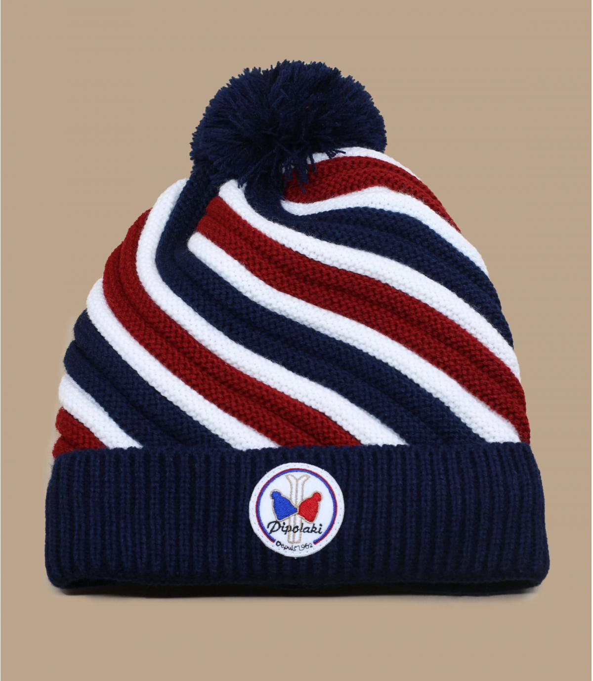 cappello con pompon tricolore