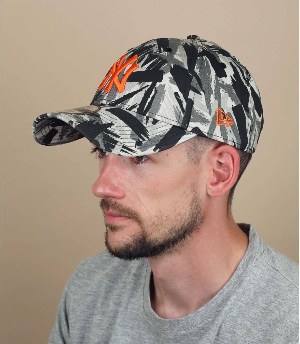 cappellino NY stampato grigio