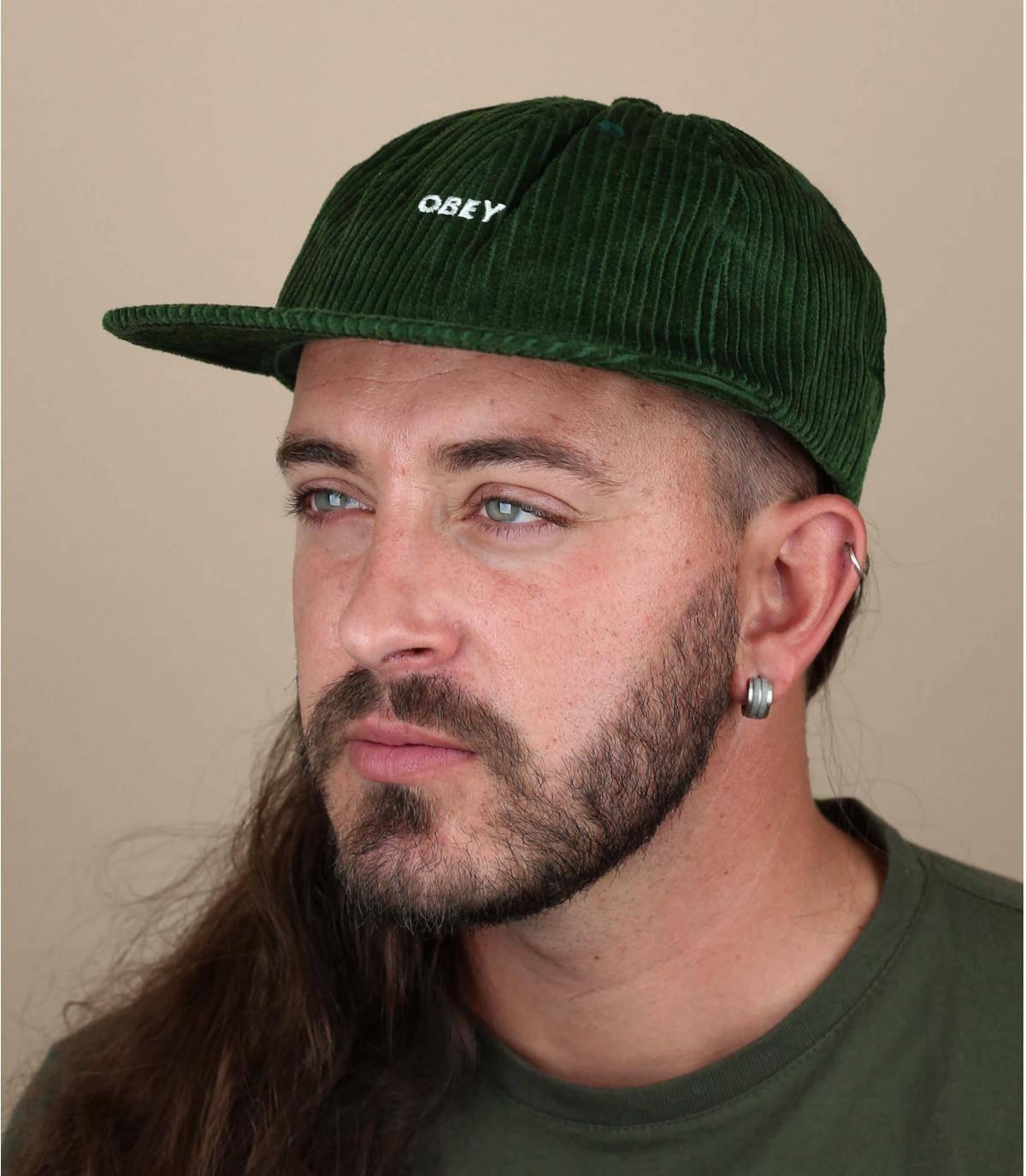 cappellino Obey velluto verde