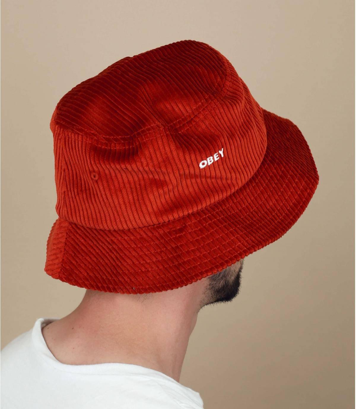 cappello da pescatore velluto beige Obey