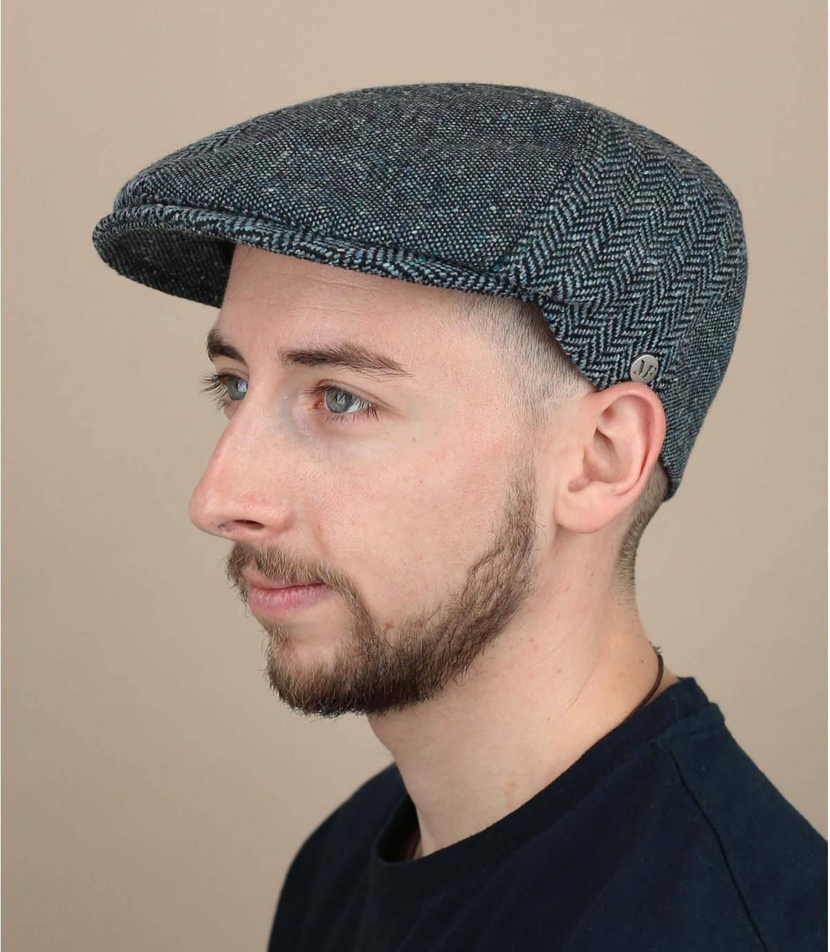 berretto blu lana seta