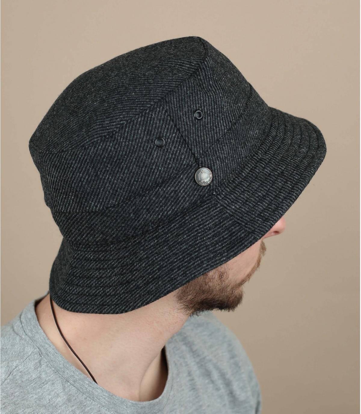 cappello da pescatore grigio lana riciclata