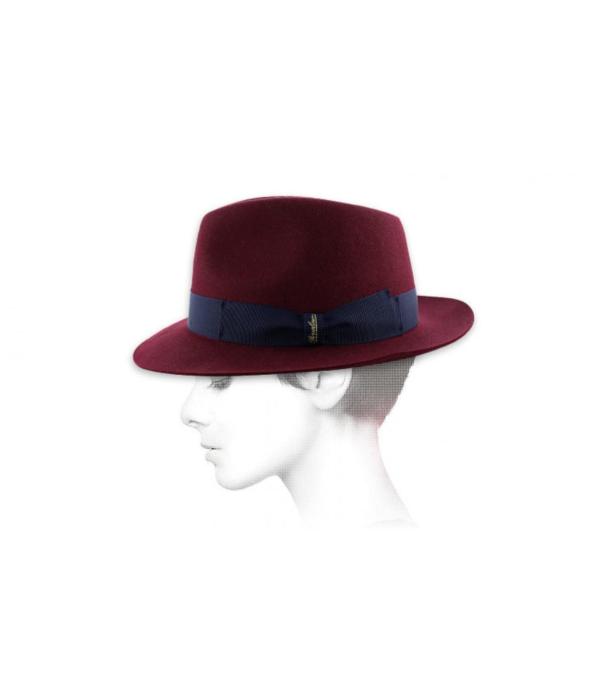 Burgundy fur felt hat