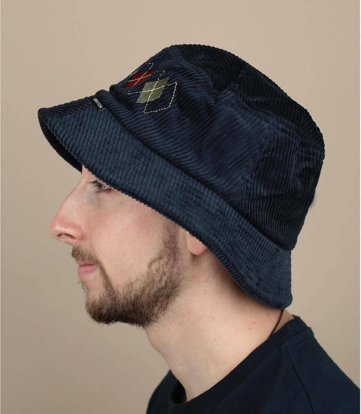 cappello da pescatore velluto blu