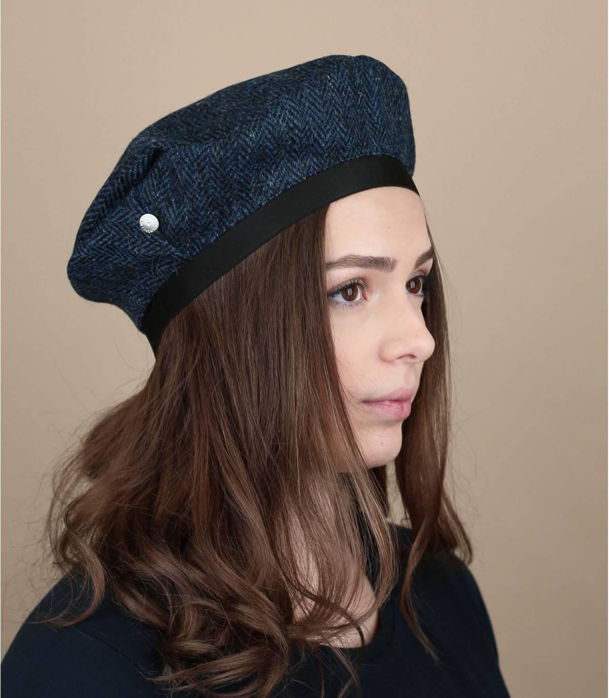 berretto tweed blu