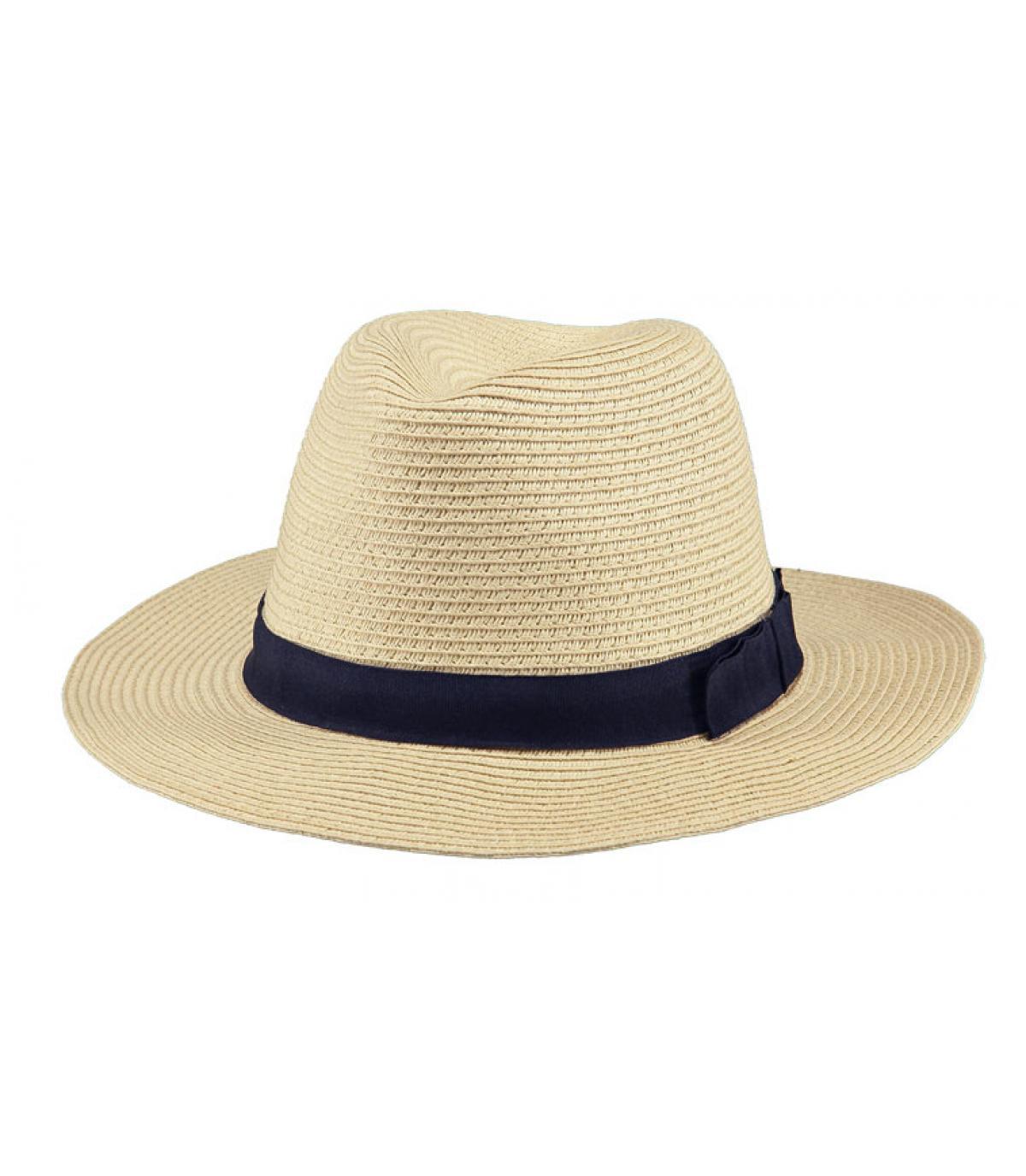 Cappello paglia beige nastro blu