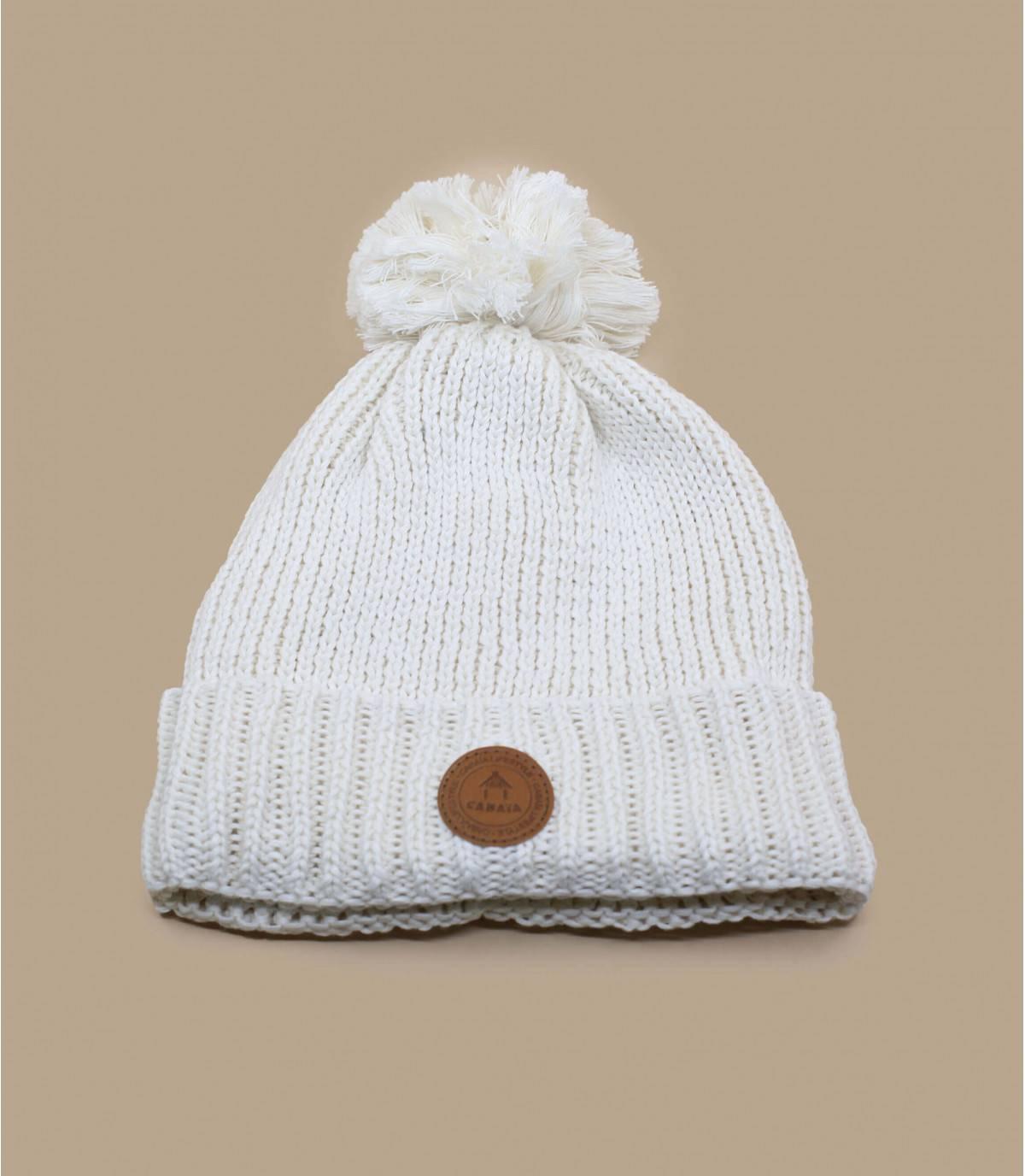 cappello bianco con pompon