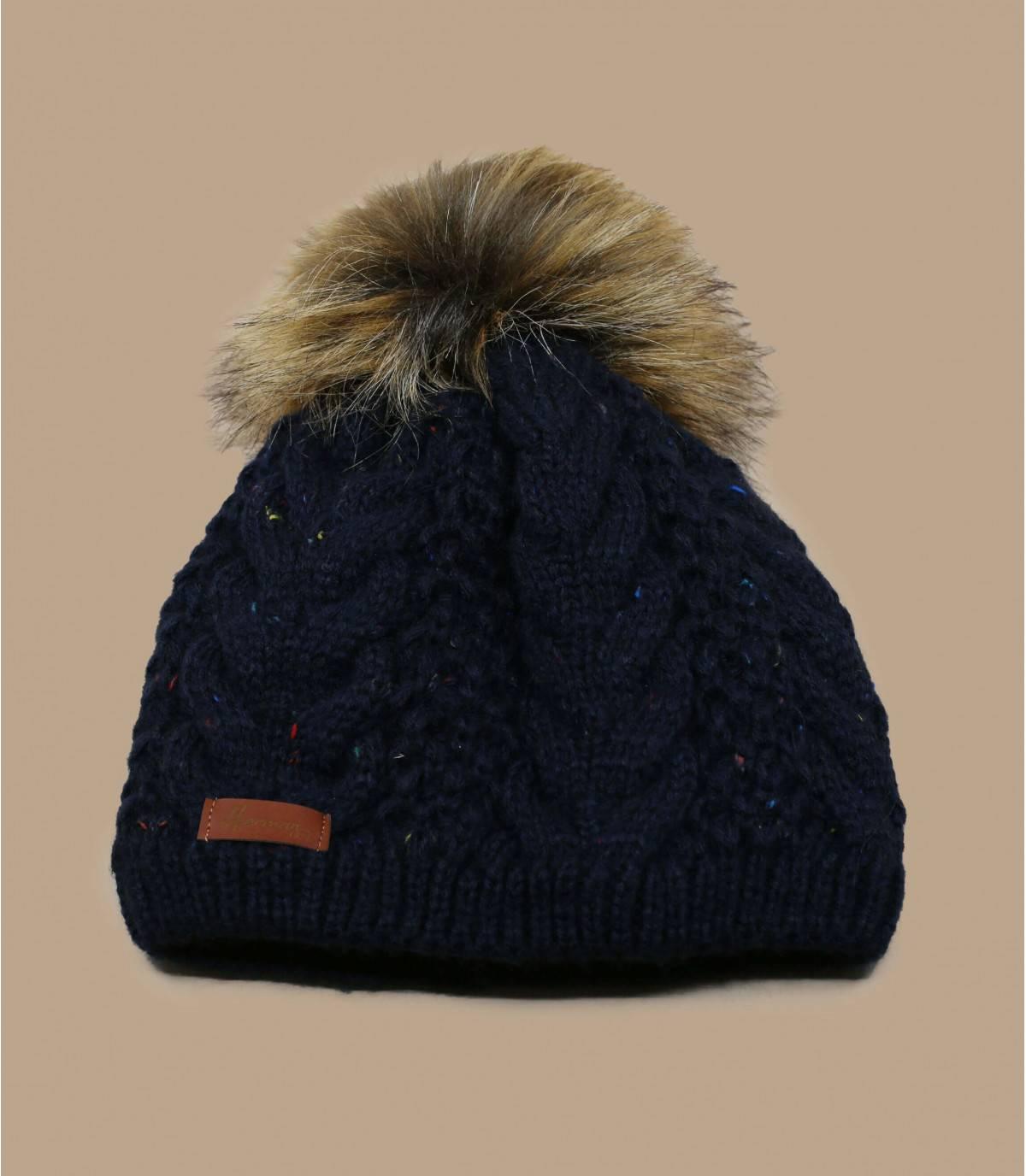 cappello pompon di pelliccia blu