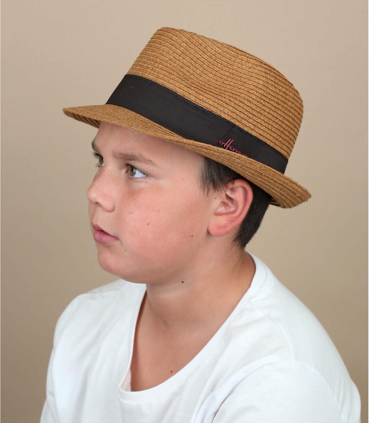 cappello di paglia marrone per bambini