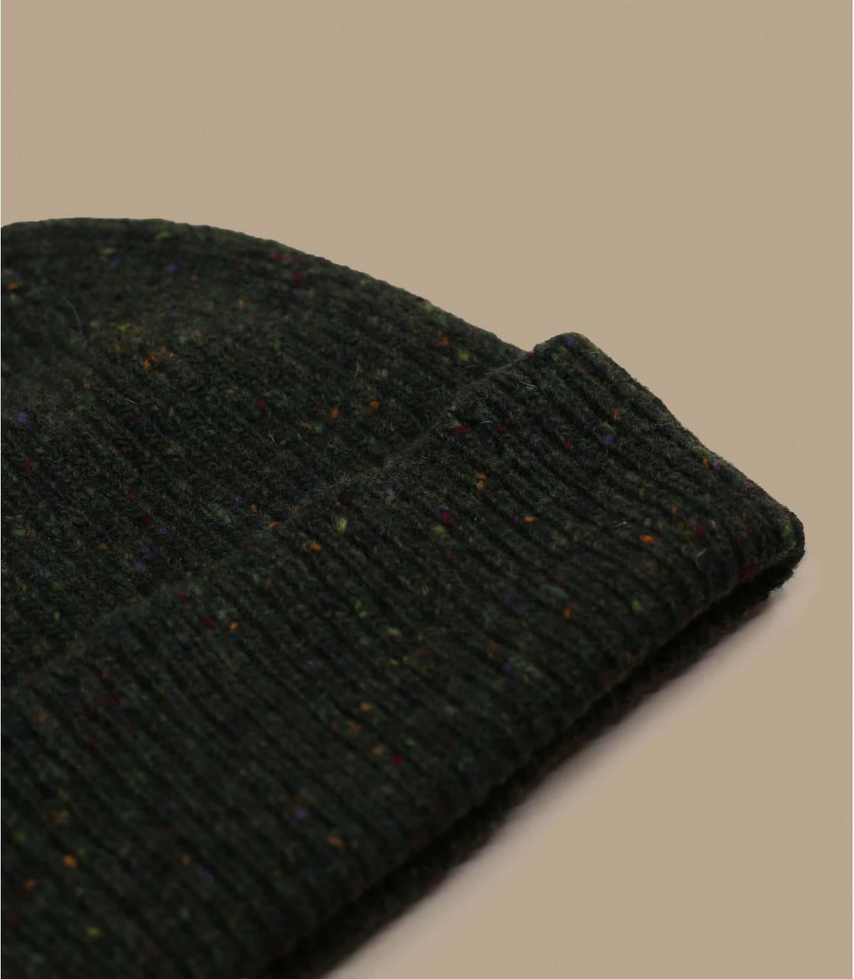 berretto in lana verde con polsino
