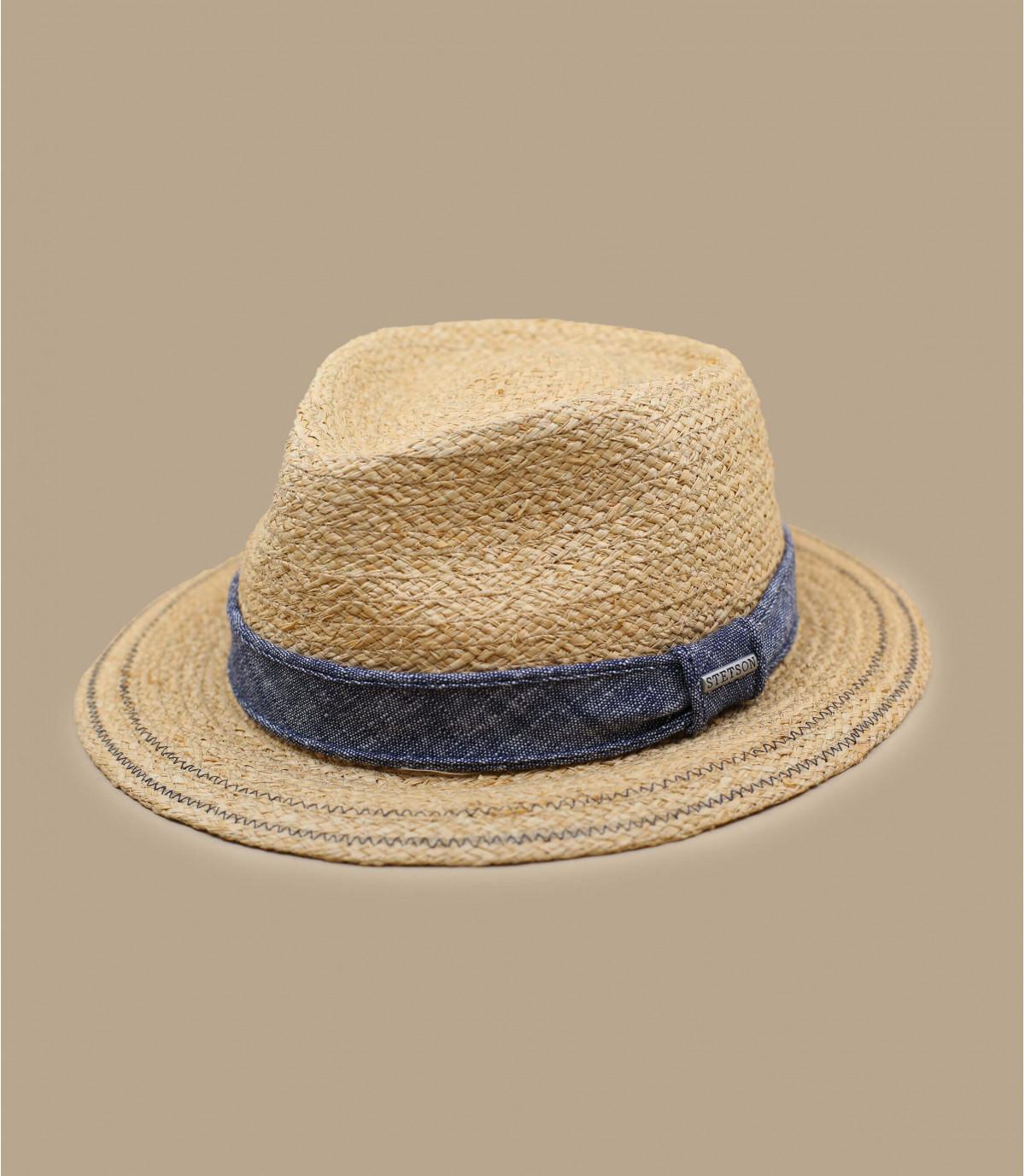 cappello di paglia con fiocco in denim