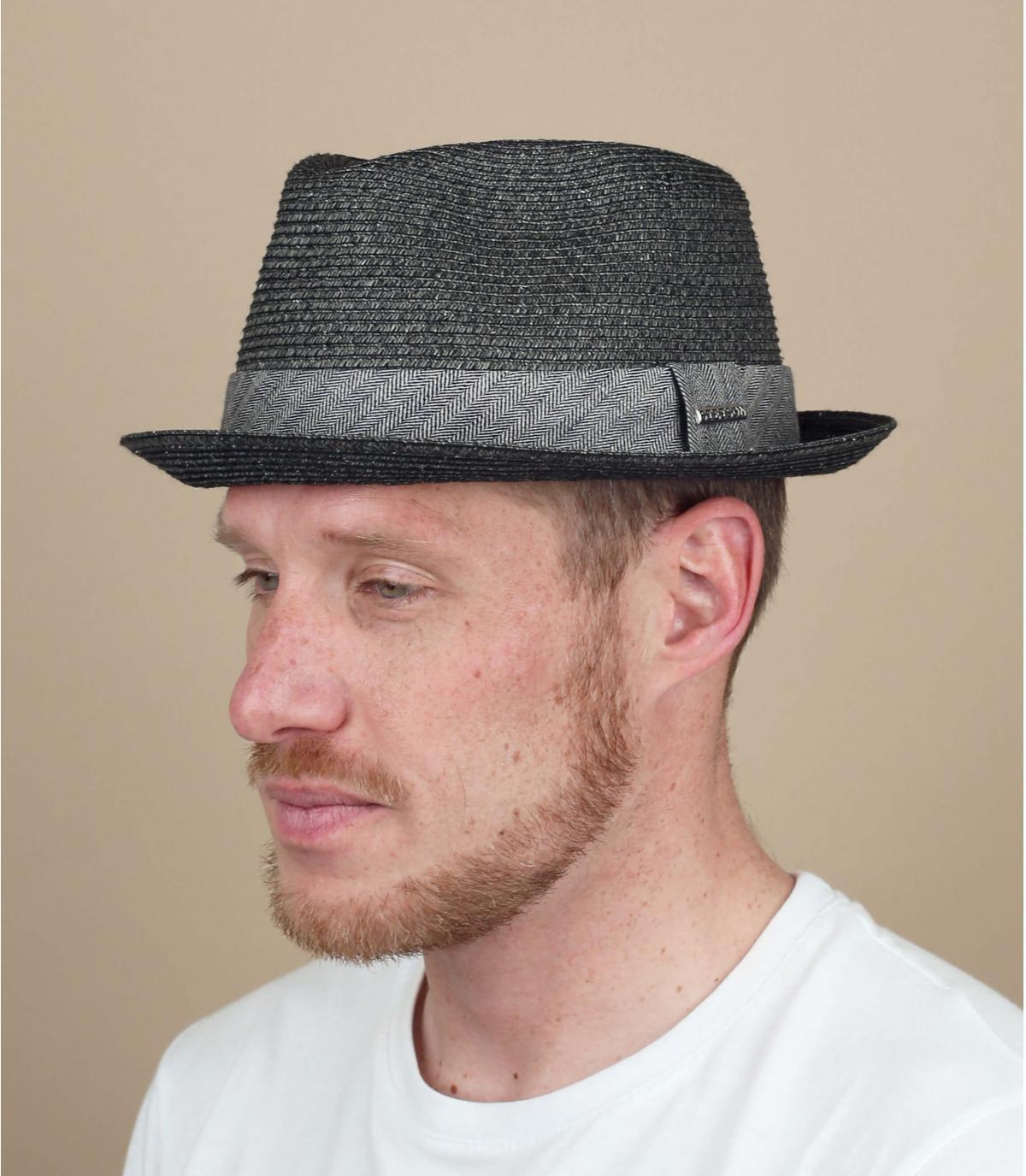 Cappello paglia nero grigio uomo
