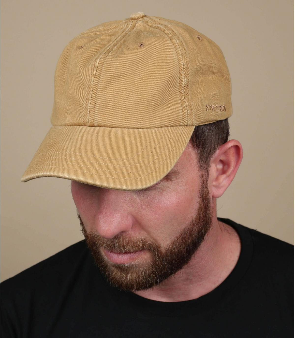 Cappellino baseball beige uomo