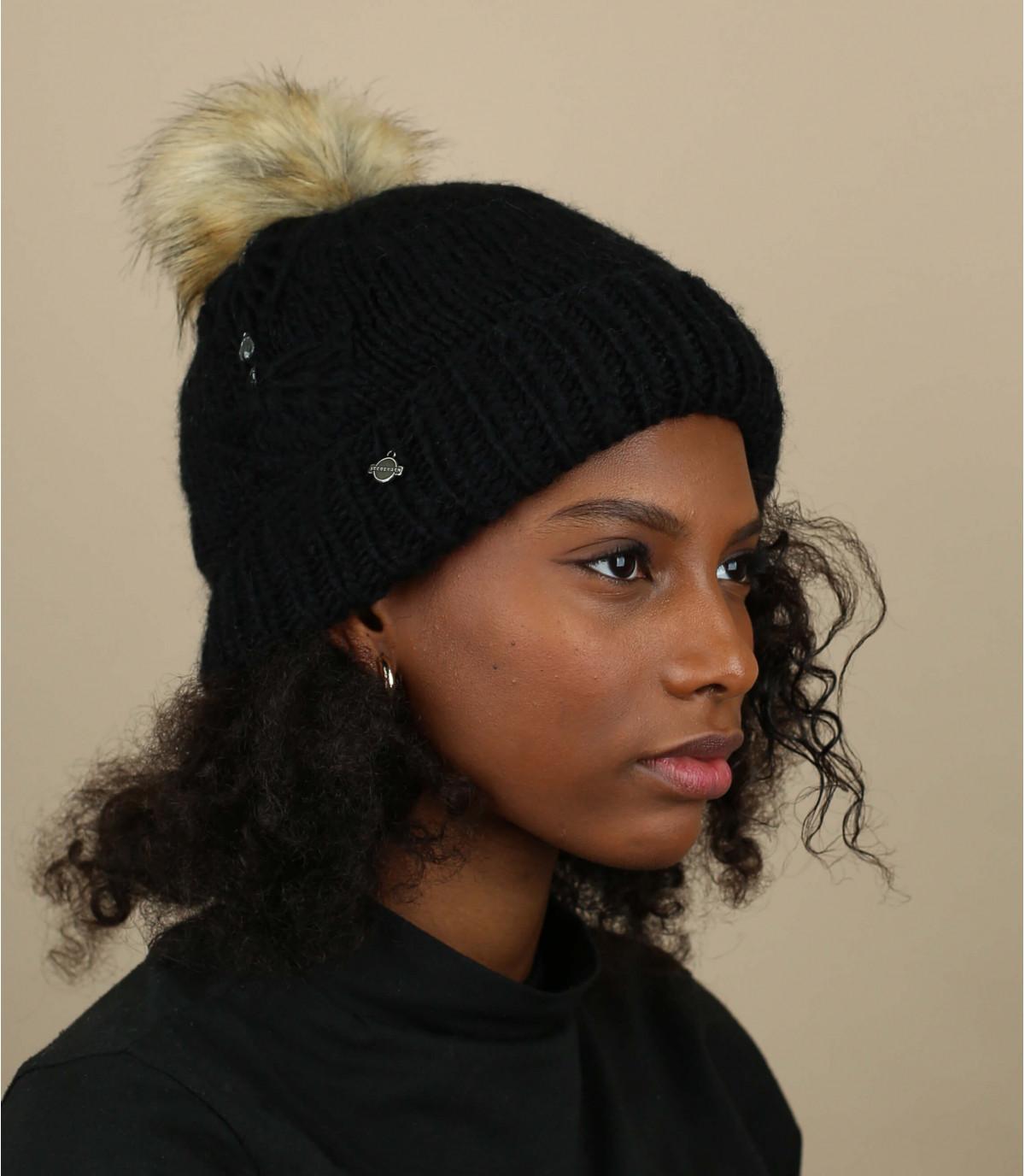 berretto nero nappa strass