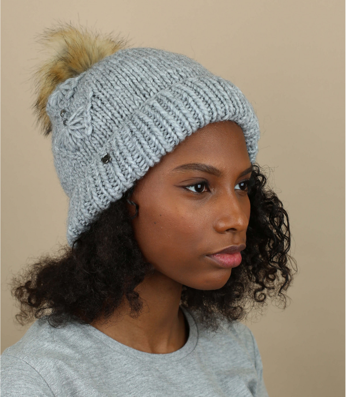 cappello grigio nappa strass