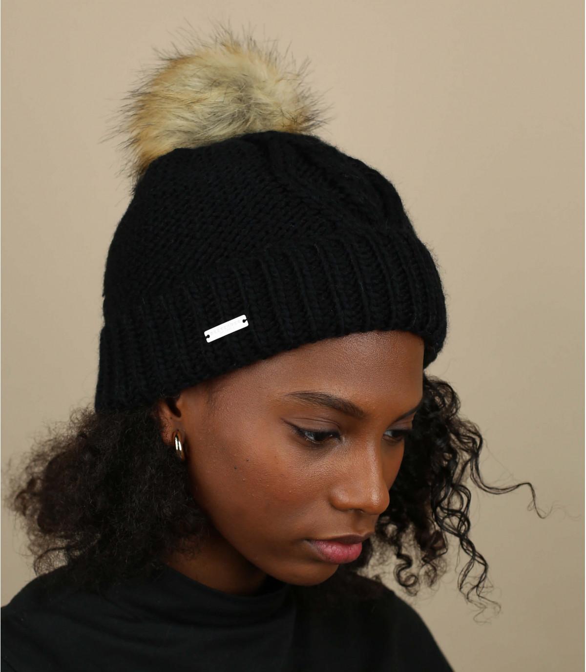 cappello bavero nappa nero