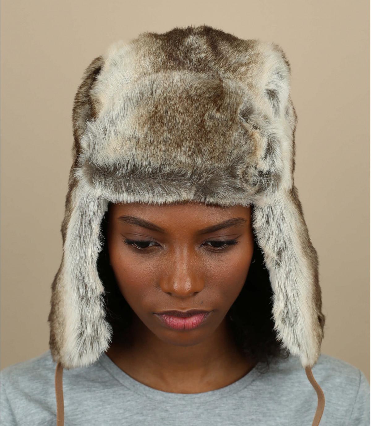 cappello di pelliccia grigio Barts donna
