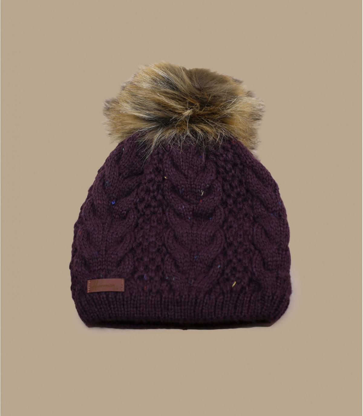 cappello di pelliccia pom pom