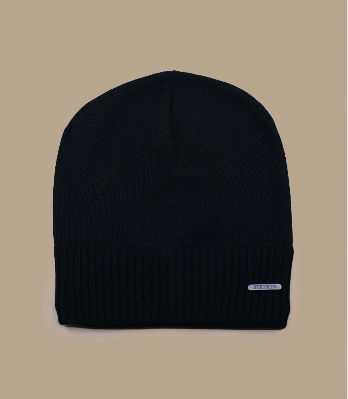 lungo cappello di lana merino nero