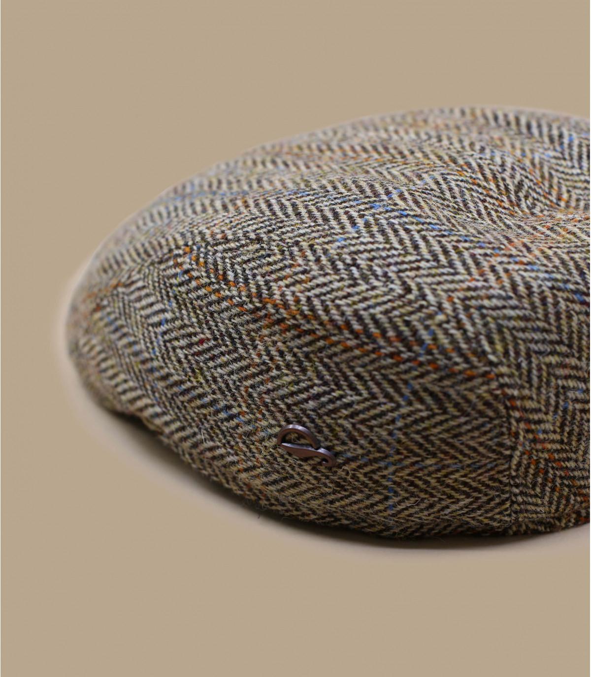 berretto di lana a spina di pesce beige