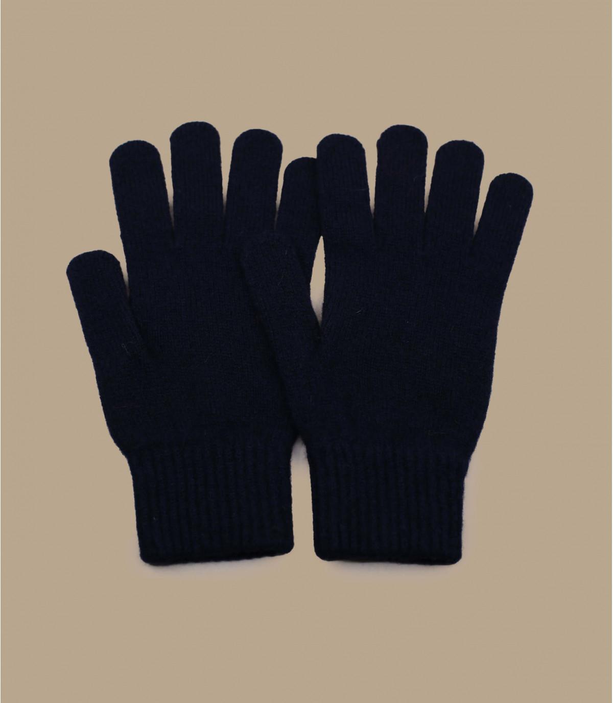 guanti di lana blu