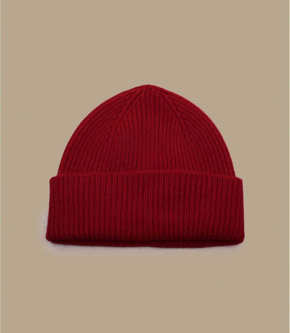 Cappello bavero angora rosso