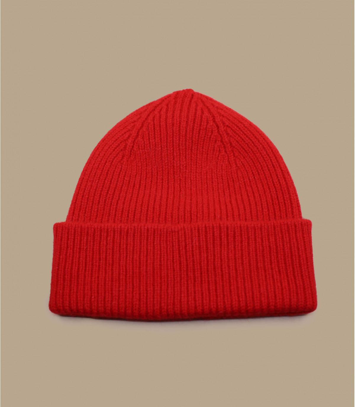 berretto di lana d'angora bavero rosso