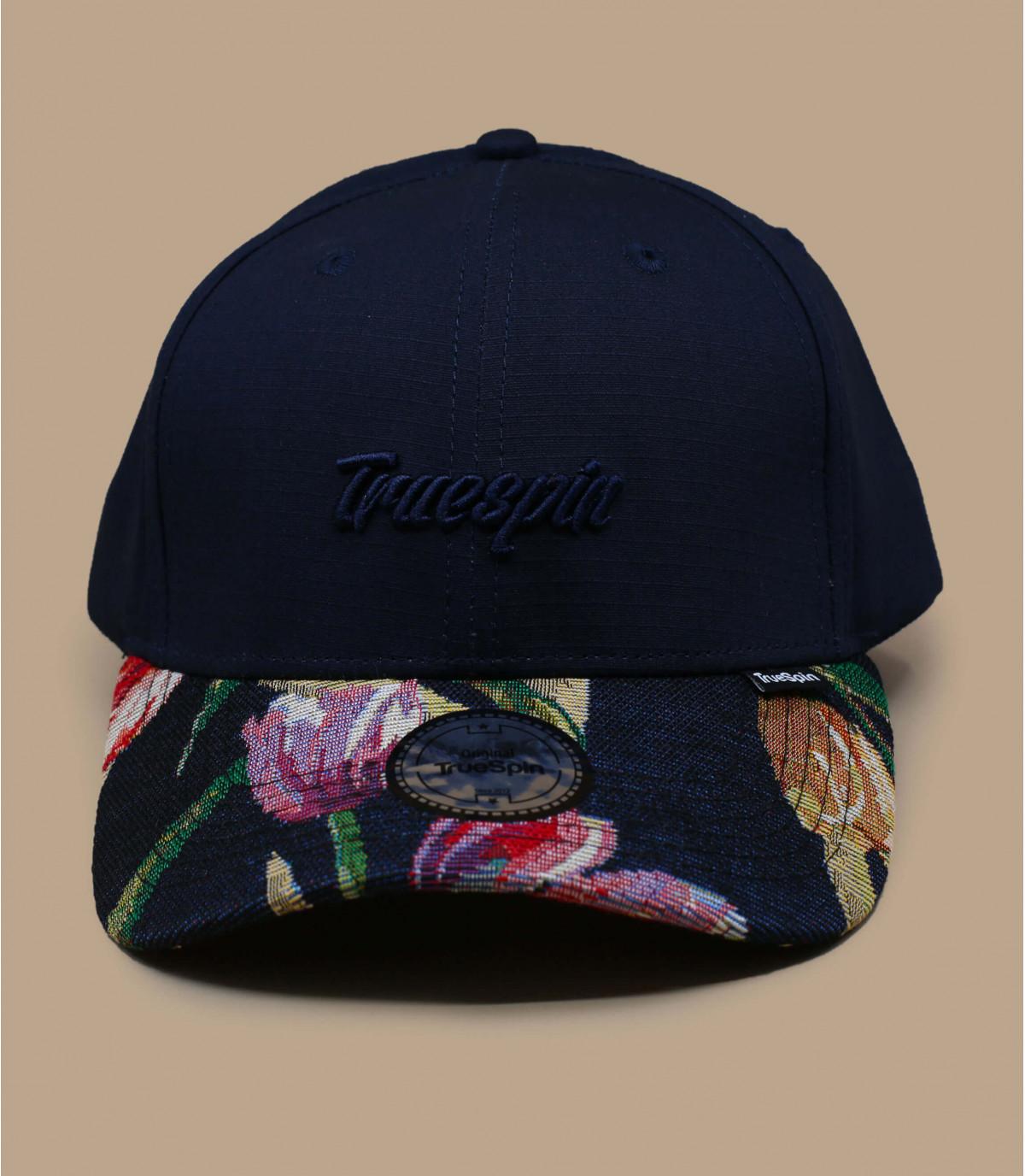 berretto blu navy con visiera a fiori