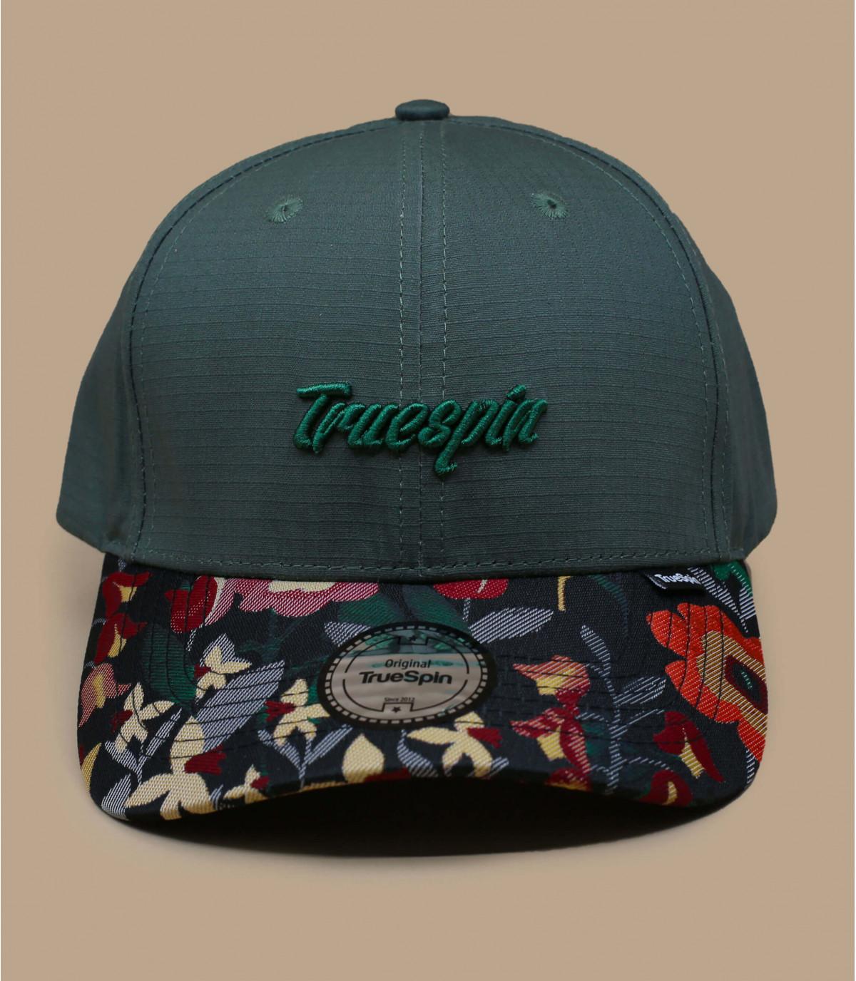 berretto con motivo floreale verde