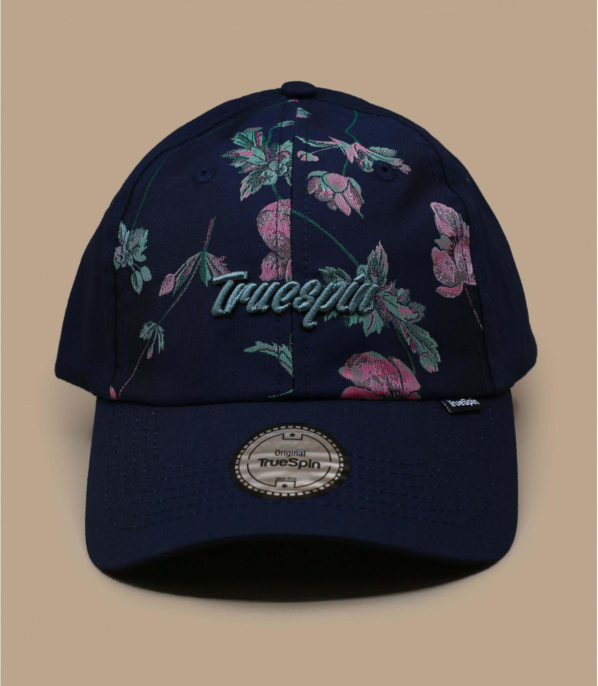 berretto con motivo floreale blu