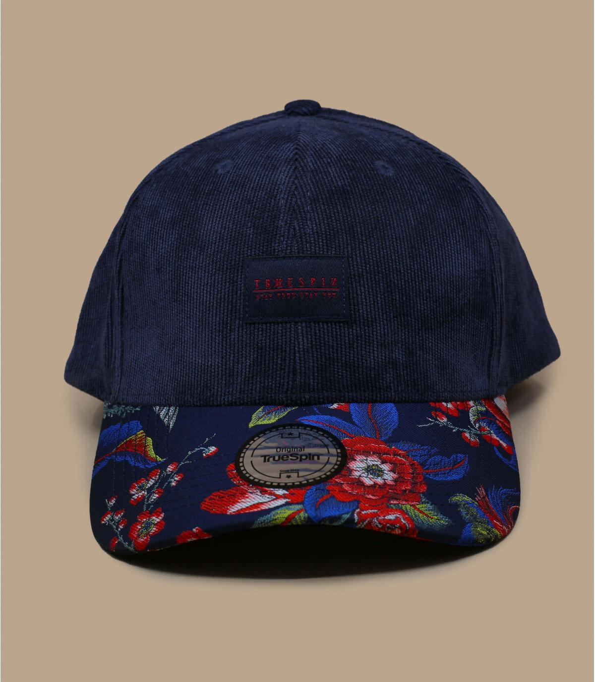 berretto in velluto a fiori blu