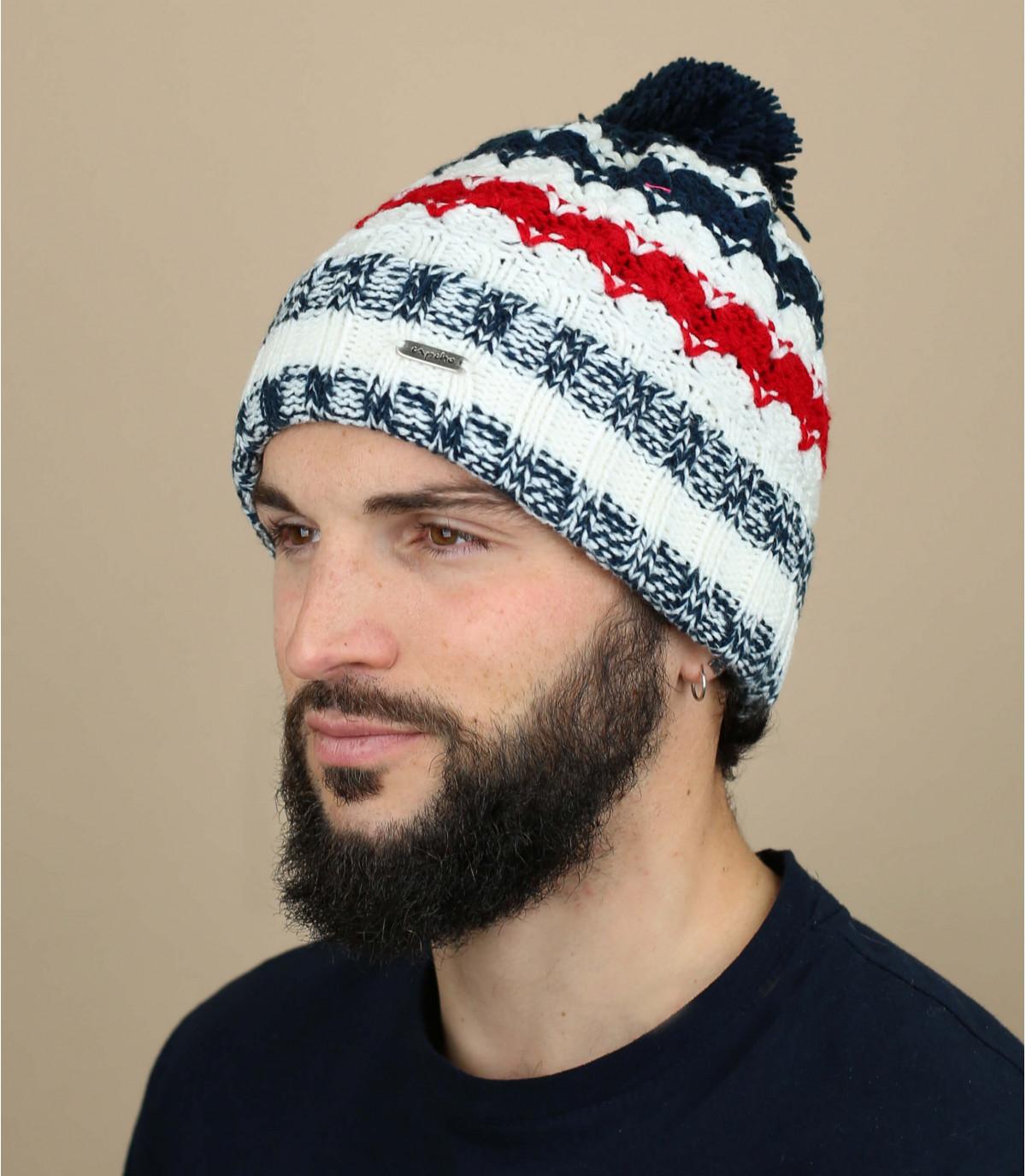 cappello rosso nappa blu bianco