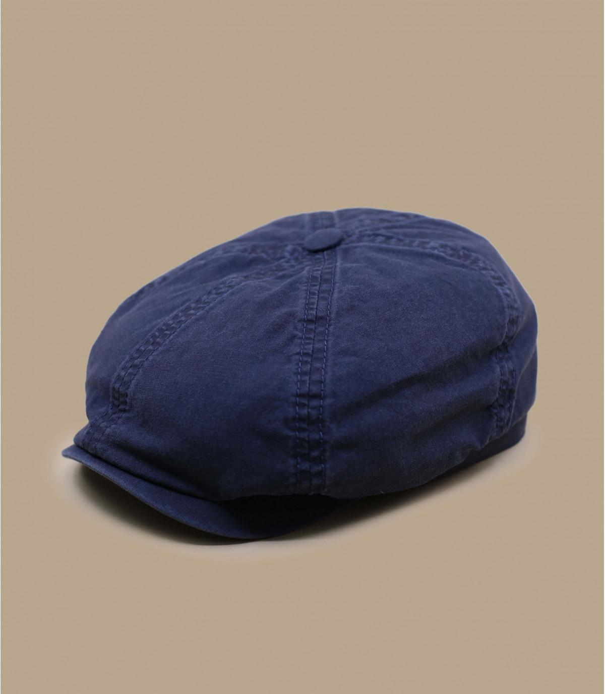 berretto newsboy in cotone organico blu
