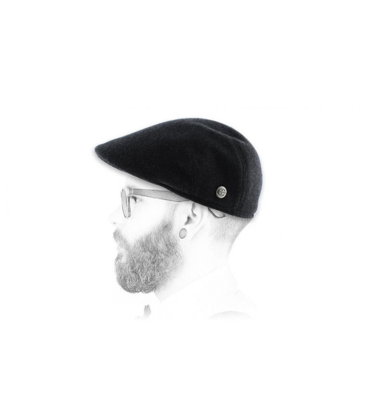 Grigio earflap berretto piatto