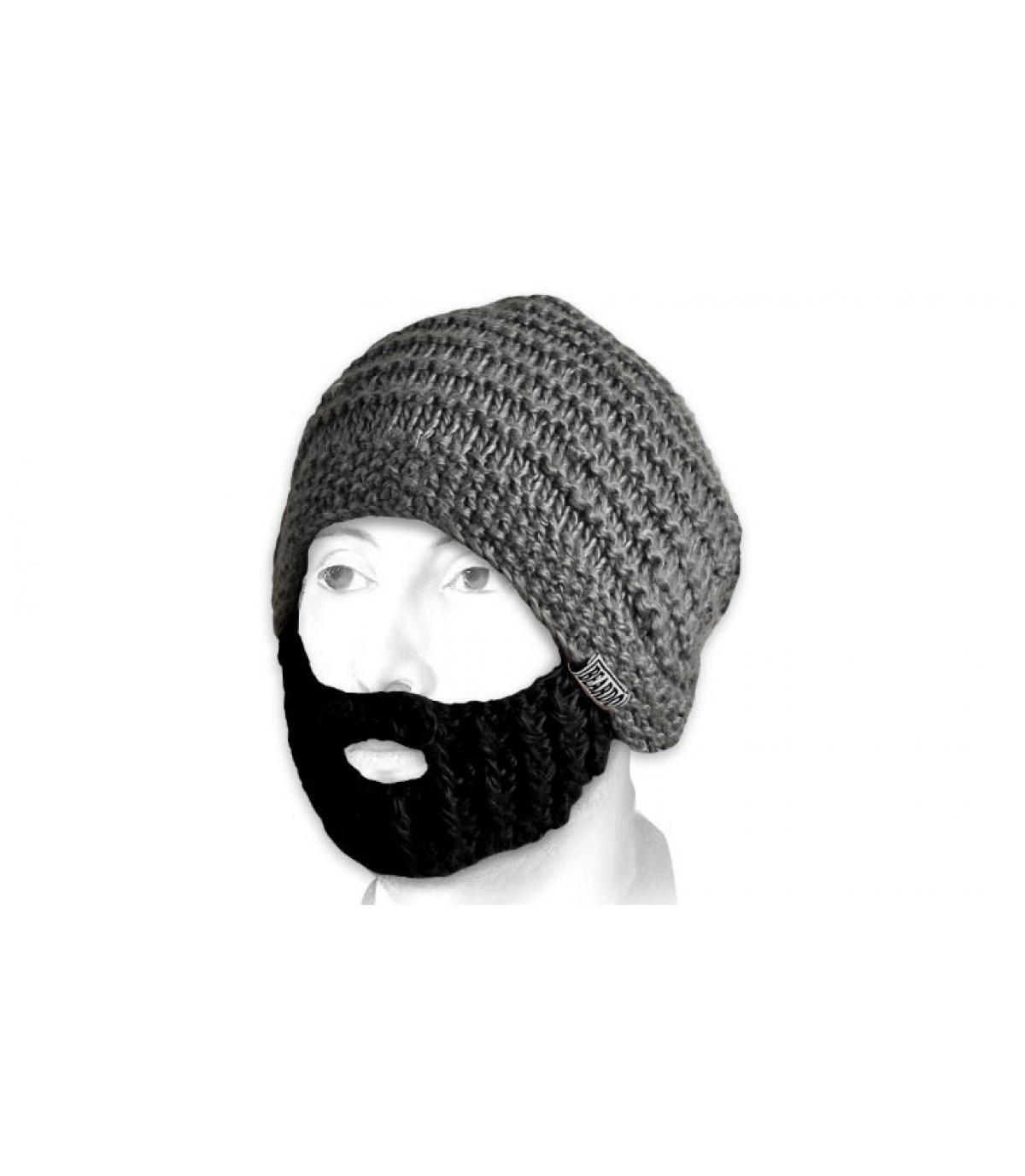 Berretto barba grigio nero