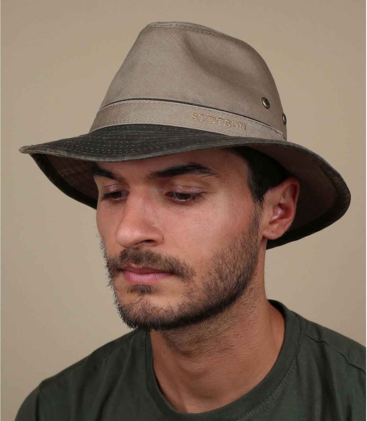 cotone grigio viaggio cappello